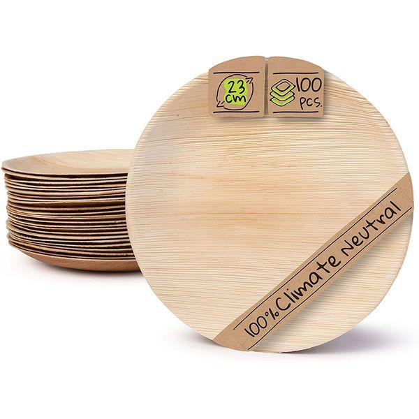 Assiettes en feuille de palmier 23cm BIOZOYG | Vivre Bambou