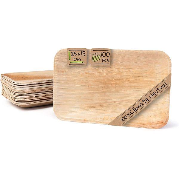 Vaisselle en feuille de palmier : Assiettes rectangulaires | Vivre Bambou