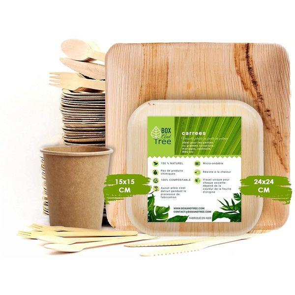 Vaisselle en feuille de palmier : Lot complet 150 pièces ! | Vivre Bambou