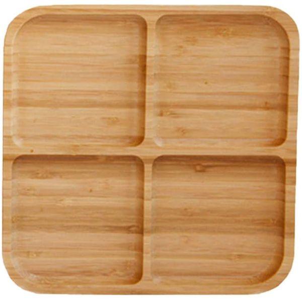 Assiette à 4 compartiments en bambou naturel | Vivre-Bambou.com