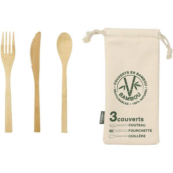 Couverts en bambou avec étui | Vivre-Bambou.com