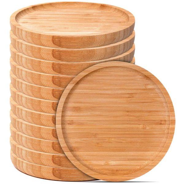 Lot de 12 petites assiettes en bambou brut | Vivre-Bambou.com