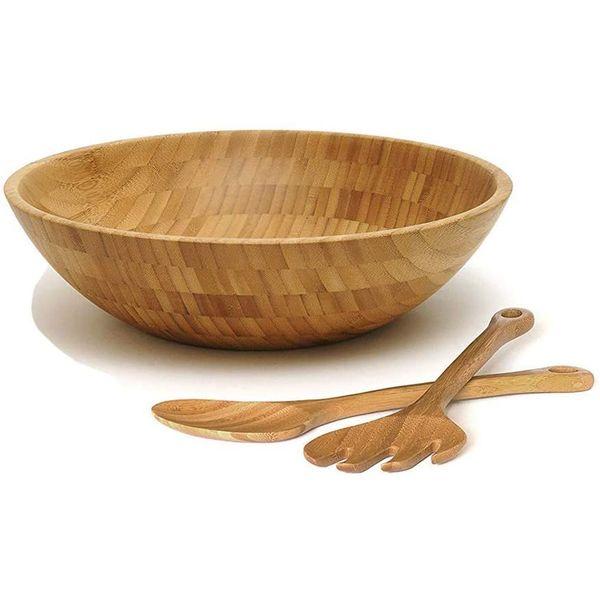 Saladier + 2 cuillères en bambou véritable | Vivre-Bambou.com