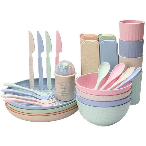 Ensemble de vaisselle en paille de blé   Vivre-Bambou.com